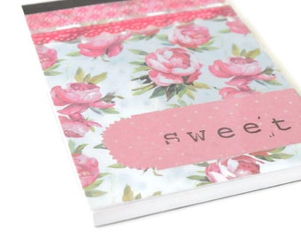 """Notebook handmade with Flowers """"Sweet"""" Pink"""
