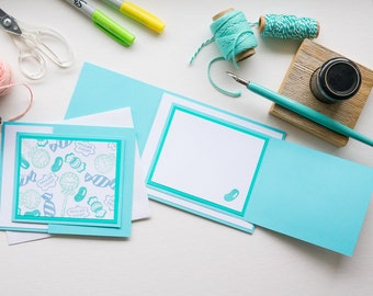 Blue Candy Birthday Trifold Card, Handmade Greeting Card