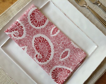 Red Paisley Dinner Napkins, Paisley Napkins ~ set of 6