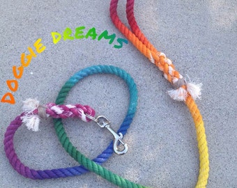 Rainbow Flared Rope Dog Leash