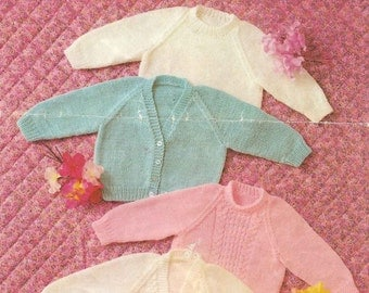 "Vintage Knitting Pattern pdf~Baby Cardigans and Sweaters~DK & QK~16-20""~Instant Download"