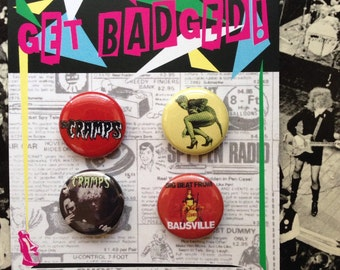The Cramps (Badsville) 1 inch badge set of four