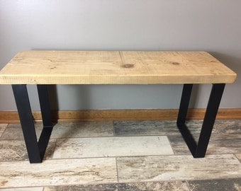 Farmwood Modern Bench - Salvaged Barn Wood Bench with Steel Legs Handcrafted Steel Industrial Modern Rustic Benc