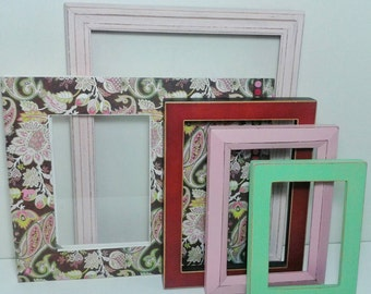 Colorful Picture Frame Collection / Shabby Chic Picture Frame Set/Wall Frames Set /Perfect Christmas Gift