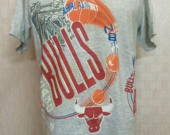 Vintage Nutmeg Chicago Bulls NBA Tshirt Heather Grey