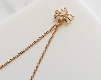 Tiny Rose Gold Spyder Necklace,
