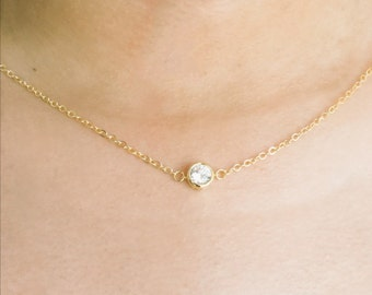Gold Solitare Floating Necklace, Austrian Crystal Pendant