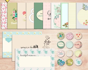 SUMMER SALE - Spring Journal Cards - Instant Download - Printable journaling cards for Project Life and digital scrapbooking