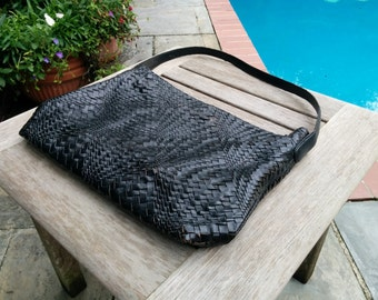 "Vintage Black Leather Purse/Woven Black Leather Purse/Monsac Purse/Leather Hobo/Magnetic Closure/15""Wide/11""Long/27""Strap/*FREE GIFT WRAP*"