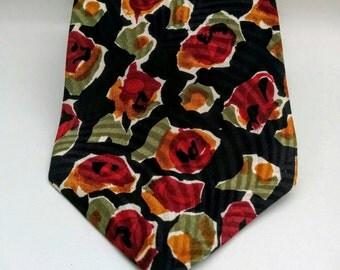 "80's Italian Silk Tie/L'Uomo/Vintage NeckTie/Professional Tie/80's Neck Tie/Business Tie/Floral Tie/Silk Flower Tie/Pure Silk/59""Long/4""Wide"