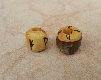 Hand Carved Wooden Bead Dreadlock Hair Beard Runes Personalised Pyrographed Custom Made To Order Friendship Viking Rasta Hippy