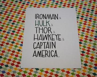 Avengers -- hulk thor captain america hawkeye ironman