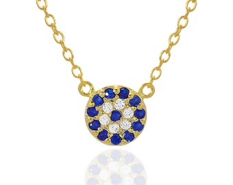 Sterling Silver Round Evil Eye Necklace