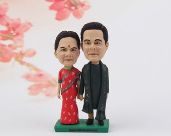 50th anniversary gift -funny 50th anniversary gift - golden wedding anniversary gift- fifty anniversary gift for parents - bobblehead