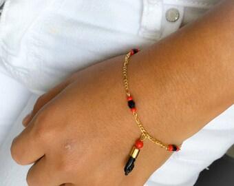 Figa Hand Gold Plated Azabache Bracelet, Gold Filled Bracelet azabache, Azabache Bracelet, Good luck Bracelet, Lucky Charm, Figa Bracelet