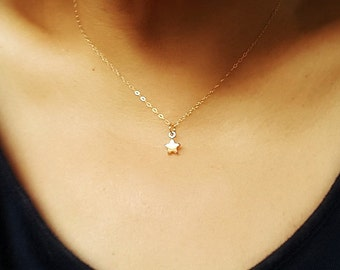 Tiny Gold Star Necklace - Star Necklace - Gold Filled Chain -  Everyday Necklace - Good luck necklace