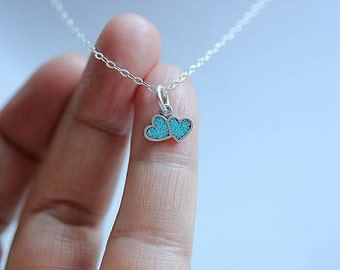 Double Heart necklace - Two Heart necklace  - Mother Daughter necklace - Love Necklace - Couples Necklace - Turquoise heart necklace