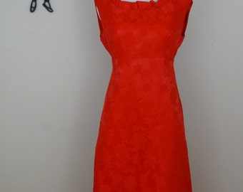 Vintage 1960's Red Maxi Dress / 60s Floral Brocade Dress XS/S  tr