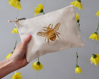 Golden Bee embroidered Natural make-up, accessory,purse bag