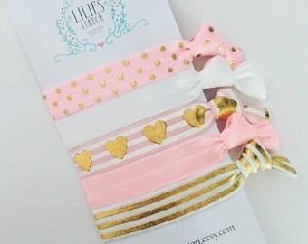 Pink heart hair ties