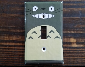 Gray Totoro Single Toggle Light Switch Cover | Studio Ghibli - My Neighbor Totoro - Nursery - Totoro Baby - Disney Decor - Anime Decor
