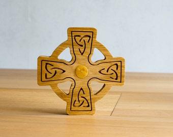 Celtic cross oak and heart Boxwood