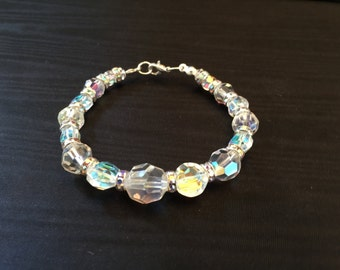 Clear Aurora Borealis Crystal And Rhinestone Bracelet Silver Tone