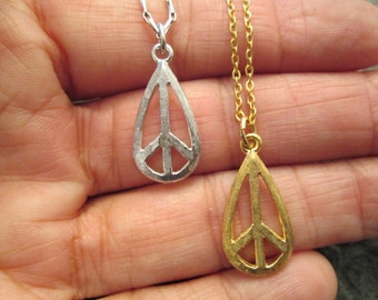 """ORIGINAL """"PEACE SIGN"""" necklace>> 1960's Vintage >new old stock, teardrop shape>>Silver or Gold, your choice"""
