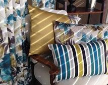 Designer Pinch Pleat, French Pleat, Box Pleat Cotton Drapery  Turquoise, Purple, Grey, Cream, Beige Colors. Floral Curtains. Flower Print