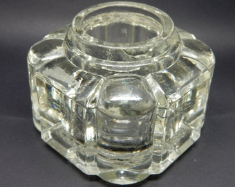 A Vintage  Glass Inkwell, good condition,Stationary , Shabby Chic