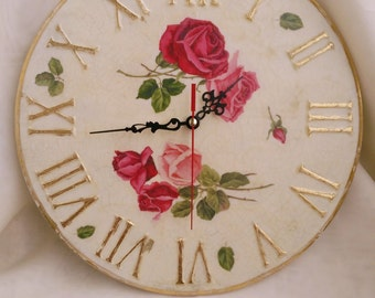 Large wall clock, Wall clock Shabby chic, roses wall decor, housewarming gift, gift for woman, new home gift, women gift, cottage decor cute