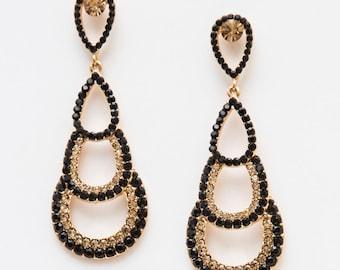 Black Quartz Gold Earring