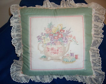 Teapot Filled with Flowers Pillow