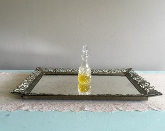 Vintage filigree vanity mirrored tray, gold decorative tray, shabby chic tray, weathered dresser tray