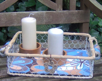 "Tischdeko ""Blaue Stunde""  mit 2 Kerzen."