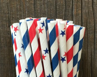 100 Red and Blue Stripe and Star Paper Straws- Patriotic, 4th of July, Cookout Supply