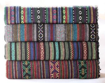 Hand Woven Fabric Stripy Fabric BOHO Bohemian fabric Upholstery fabric Thick tread Lose weave Rug Blanket Fabric - 1/2 yard