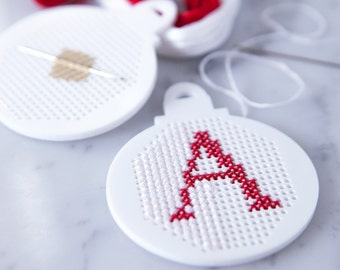 Personalised Christmas Bauble Cross Stitch Kit - Modern Cross Stitch - Christmas Sewing Kit - Bauble Cross Stitch - Stocking Filler