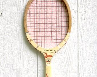 Tennis Racket  / Wooden Tennis Racquet / Vintage Wilson Tennis Racket / Wilson Sport Racket / Sports Decor / Tennis Decorations Wood Racquet