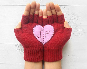 VALENTINES DAY GIFT, Personalized, Monogram Gloves, Romantic Gift, Heart Gloves, Deep Red, Pink, Initials, Customize, Hearts, Special