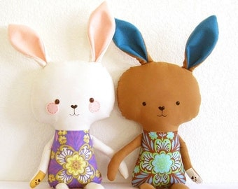 Bunny Rabbit PDF Sewing Pattern Stuffed Toy Softie DIY Easter