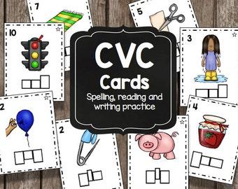 50% OFF SALE Spelling CVC Kit - Preschool - Kindergarten - Worksheets - Centers - Kids Activities - Reading - Sight Words