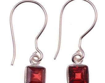 Garnet Earrings January Birthstone Gemstone Earrings Garnet Jewelry Silver Earrings 925 Sterling Silver Dangle Earrings Garnet Red Earrings