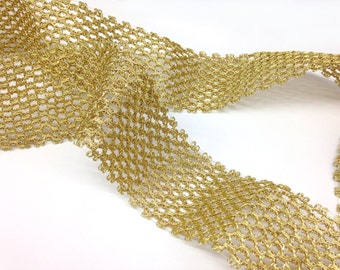 "Gold Lurex Gimp, 3"" wide, dramatic decorative banding, vintage, 3 lots of 7+ yards."