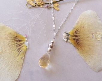 """AAA Citrine Gemstone Faceted Round Teardrop Pendant Necklace ~ Sterling Silver Chain with Petro Tourmaline Accents ~ Dainty ~ 18"""""""