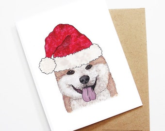 Christmas Card - Akita, Dog Christmas Card, Cute Christmas Card, Holiday Card, Xmas Card, Seasonal Card, Christmas Card Set