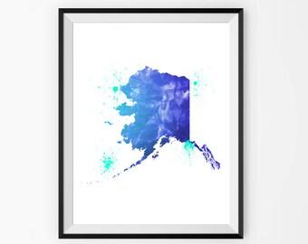 Alaska State Map Print - Alaska Watercolor Painting - USA State Map Art - Alaska Poster Print - Alaska Wall Art