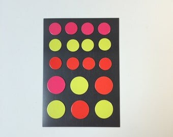 Circle Flat Magnets - Pink, Yellow & Red