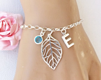 Sterling silver leaf Initial and birthstone bracelet,sterling silver handmade bracelet,birthstone bracelet,silver leaf bracelet