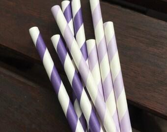 Lilac & Purple Paper Straws - Set of 10